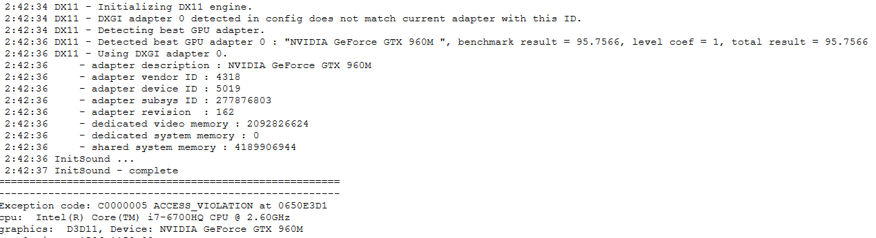 ⚓ T127189 Cannot create DX11 device: E_INVALIDARG